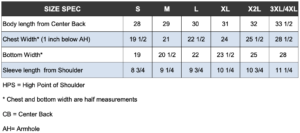 Polo Size Chart